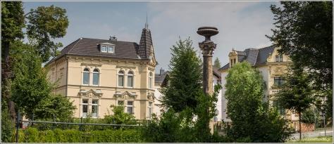 Am Stadtbad | Blick in Richtung Korinthischer BrunnenSäule, Töpferberg & Marschnerstraße