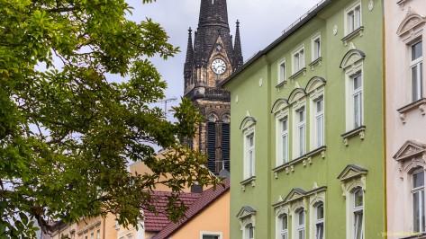 Korseltstraße Ecke Lessingstraße - Blick zur Marienkirche