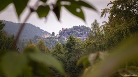 Oybin/Hain - Blick von der Alten Schanze zu Berg und Burg Oybin