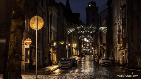 Tageswetter: Nieselregen bei Sternenklarem Stadthimmel | Innere Weberstraße