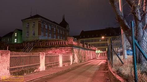 Blick in die Gellertstraße zur Bahnhofstraße Ärztehaus und frühem Phänomen-/Robur-Werk